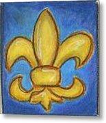 Blue Fleur De Lis Metal Print