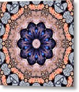 Blue Flora Mandala Metal Print