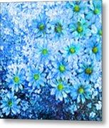 Blue Floral Fantasy Metal Print