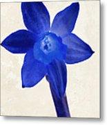 Blue Flower Beige Texture Metal Print