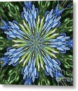 Blue Flower Star Metal Print by Annette Allman
