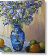 Blue Flowers And Fruit Metal Print