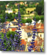 Blue Flowers And Rooftops In Sarlat Metal Print by Elena Elisseeva