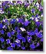 Blue Flowers On Sun Metal Print