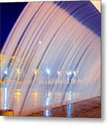 Blue Fountain At Night Metal Print