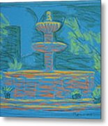 Blue Fountain Metal Print by Marcia Meade