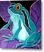 Blue Frog Purple Flower Metal Print