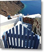 Blue Gate Oia Santorini Greek Islands Metal Print