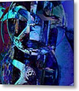 Blue Gears Collage Metal Print
