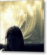 Blue Girl With Curtain  Metal Print