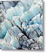 Blue Glacier Ice Background Texture Pattern Metal Print