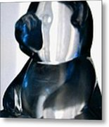 Blue Glass Bear Metal Print