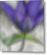 Blue Glass Flower Metal Print