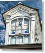 Blue Glass In Window Metal Print by Brenda Bryant