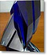 Blue Glass Sculpture Metal Print
