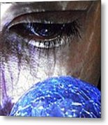 Blue Glass World Metal Print by Sarah Loft