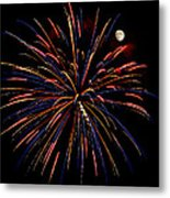 Blue Gold Pink And More - Fireworks And Moon Metal Print