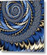 Blue Gold Spiral Abstract Metal Print
