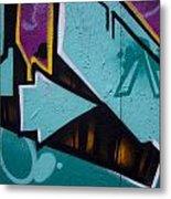 Blue Graffiti Arrow Square Metal Print