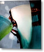 Blue Green Art Glass 2 Metal Print by Judy Paleologos