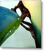 Blue Green Art Glass Metal Print