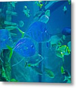 Blue Green Impression Metal Print