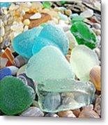 Blue Green Sea Glass Beach Coastal Seaglass Metal Print by Baslee Troutman