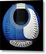 Blue Guitar Baseball White Laces Square Metal Print