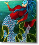 Blue Haired Mermaid Metal Print