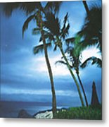 Blue Hawaii With Planets At Night Metal Print by Connie Fox