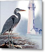 Blue Heron In The Circle Of Light Metal Print