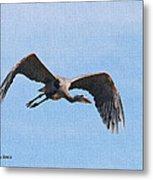 Blue Herons Last Fly By Metal Print