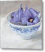 Blue Hibiscus Flower In Chinese Cup Metal Print by Anke Classen