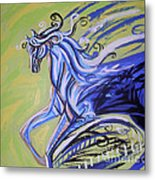 Blue Horse Metal Print by Genevieve Esson