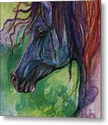 Blue Horse With Red Mane Metal Print