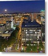 Blue Hour Moonrise II Over City Of Portland Oregon Metal Print