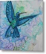 Blue Hummingbird In Flight Metal Print