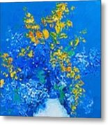 Blue Hydrangeas And Golden Chain Flowers Metal Print