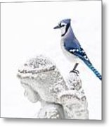 Blue Jay On An Angel Metal Print