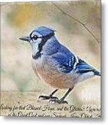 Blue Jay With Verse Metal Print