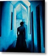 Blue Lady In The Hall Metal Print