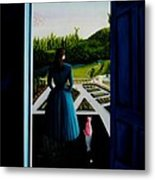 Blue Lady Thru The Door Metal Print