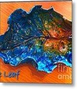 Blue Leaf Ceramic Design 3 Metal Print