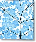 Blue Leaves Melody Metal Print