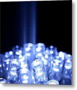 Blue Led Lights With Light Beam Metal Print