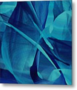 Blue Linear Mesh No 1 Metal Print