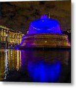 Blue London Fountain Metal Print