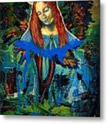 Blue Madonna In Tree Metal Print