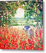 Blue Mare's English Summer Garden Metal Print