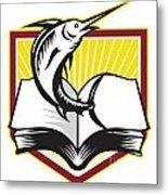 Blue Marlin Fish Jumping Book Retro Metal Print